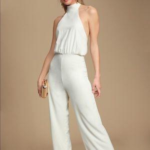 White halter jumpsuit- Brand New